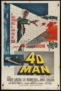 8f010 4D MAN 1sh 1959 Robert Lansing walks through walls of solid steel and stone!