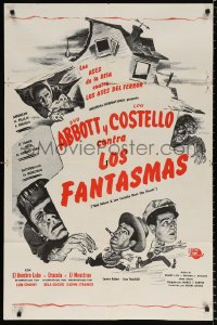 8f017 ABBOTT & COSTELLO MEET FRANKENSTEIN Spanish/US 1sh R1960s Wolfman & Dracula are after Bud & Lou!