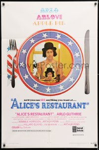 8f029 ALICE'S RESTAURANT 1sh 1969 Arlo Guthrie, musical comedy directed by Arthur Penn, R-rated!