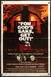 8f046 AMITYVILLE HORROR 1sh 1979 great image of haunted house, for God's sake get out!