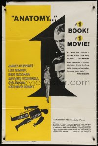 8f048 ANATOMY OF A MURDER 1sh 1959 Otto Preminger, Saul Bass silhouette art + images of stars