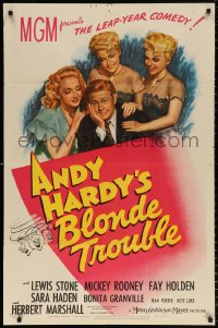 8f049 ANDY HARDY'S BLONDE TROUBLE 1sh 1944 Mickey Rooney and three very sexy babes!