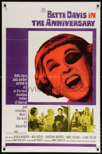 8f052 ANNIVERSARY 1sh 1967 Bette Davis with funky eyepatch in English horror!