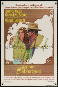 8f053 ANOTHER MAN ANOTHER CHANCE 1sh 1977 Claude Lelouch, art of James Caan & Genevieve Bujold!