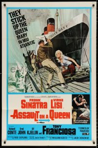 8f065 ASSAULT ON A QUEEN 1sh 1966 art of Frank Sinatra & sexy Virna Lisi on submarine deck!