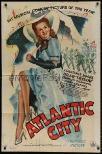 8f066 ATLANTIC CITY 1sh 1944 sexy art of Constance Moore with bonnett & umbrella in New Jersey!