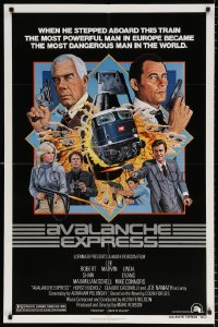 8f068 AVALANCHE EXPRESS 1sh 1979 Lee Marvin, Robert Shaw, cool action art by Larry Salk!