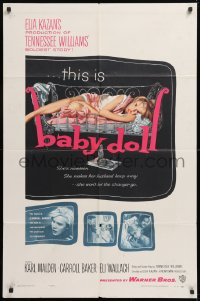 8f069 BABY DOLL 1sh 1957 Elia Kazan, classic image of sexy troubled teen Carroll Baker!