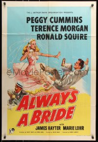 8f040 ALWAYS A BRIDE English 1sh 1953 wacky art of sexy Peggy Cummins & Terence Morgan!