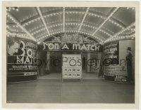 8g073 3 ON A MATCH candid 8x10.25 still 1932 wonderful image of theater front with homemade posters!