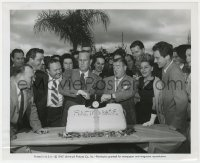 8g076 ABBOTT & COSTELLO 8.25x10 still 1947 celebrating the their Who's On First record with cake!