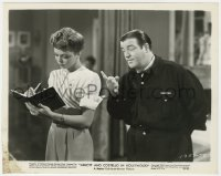 8g078 ABBOTT & COSTELLO IN HOLLYWOOD 8x10 still 1945 Lou asks Jean Porter to make an appointment!
