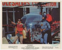 8g002 BATMAN color 8x10 still 1966 great image of Adam West & Burt Ward by the Batcopter!