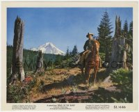 8g003 BEND OF THE RIVER color 8x10 still 1952 James Stewart riding horse in mountains, Anthony Mann