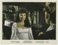 8g006 BRIDES OF DRACULA color 7.75x10 still 1960 Hammer, vampire Andree Melly showing her fangs!