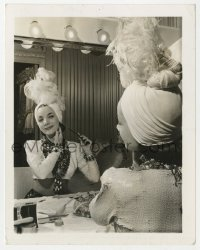 8g050 CARMEN MIRANDA 4x5 still 1941 by mirror finishing her makeup & turban hat for Night in Rio!