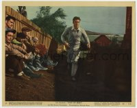 8g011 EAST OF EDEN color 8x10 still #9 1955 James Dean running past sitting men, Steinbeck, Kazan!