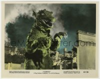 8g017 GORGO color 8x10.25 still 1961 best close up of the rubbery lizard monster in city!