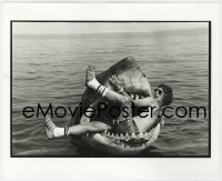 8g042 JAWS deluxe candid 8x10 file photo 1975 Spielberg in Bruce the shark's mouth by Goldman!