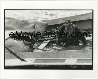 8g044 JAWS deluxe candid 8x10 file photo 1975 Robert Shaw exhausted by Bruce the shark by Goldman!