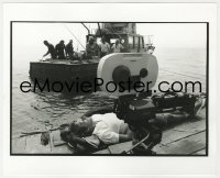 8g047 JAWS deluxe candid 8x10 file photo 1975 Spielberg taking nap by camera & Orca boat by Goldman!