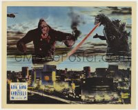 8g034 KING KONG VS. GODZILLA color English FOH LC 1963 Godzilla & 1933 King Kong over Tokyo skyline!