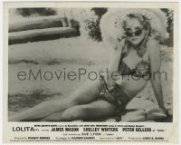 8g037 LOLITA English FOH LC 1962 Kubrick, classic c/u of Sue Lyon in bathing suit & sunglasses!
