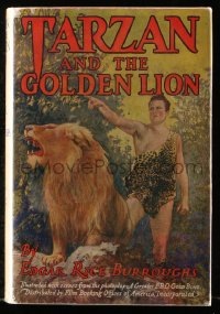 8h033 TARZAN & THE GOLDEN LION Grosset & Dunlap movie edition hardcover book 1927 Burroughs