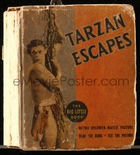 8h046 TARZAN ESCAPES Big Little Book hardcover book 1936 Edgar Rice Burroughs story w/movie images!