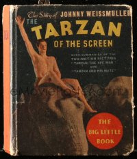 8h047 TARZAN OF THE SCREEN Big Little Book hardcover book 1934 The Story of Johnny Weissmuller!