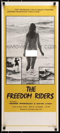 8j050 FREEDOM RIDERS Aust daybill 1972 completely naked Aussie surfer girl, yellow border design!