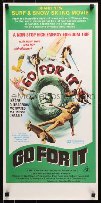 8j051 GO FOR IT Aust daybill 1976 cool surfing, skateboarding & extreme sports art!