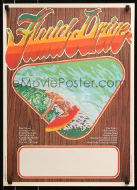 8j054 FLUID DRIVE Aust special poster 1974 cool surfing artwork by Steve Core & Hugh McLeod!
