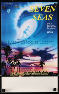 8j057 TALES OF THE SEVEN SEAS Aust special poster 1981 cool surfing image and art of surfer in sky!