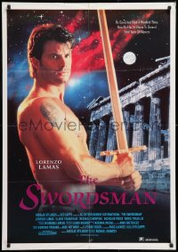 8j031 SWORDSMAN Lebanese 1992 completely different image of barechested Lorenzo Lamas with sword!