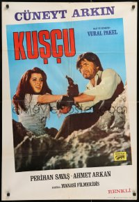 8j015 KUSCU Turkish 1973 completely different image of Cuneyt Arkin in the title role with gun!