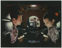 8p070 2001: A SPACE ODYSSEY signed color 11x14 REPRO still 2001 by Gary Lockwood AND Keir Dullea!