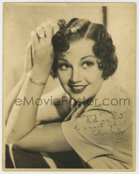 8p073 ARLINE JUDGE signed deluxe 11x14 still 1940s sexy smiling portrait with cool jewelry!