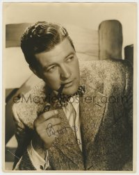 8p076 DENNIS MORGAN signed deluxe 11x14 still 1930s close portrait in suit & bow tie with pipe!