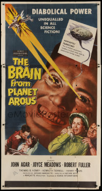 8p001 BRAIN FROM PLANET AROUS signed 3sh 1957 by John Agar, diabolical power made him most feared!