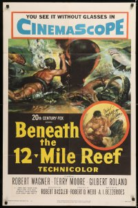 8p003 BENEATH THE 12-MILE REEF signed 1sh 1953 by Robert Wagner, art of scuba diver & octopus!