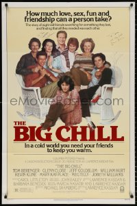 8p004 BIG CHILL signed 1sh 1983 by Kevin Kline, Glenn Close, AND Jobeth Williams!
