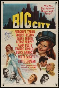 8p005 BIG CITY signed 1sh 1948 by Margaret O'Brien, great art in New York City!