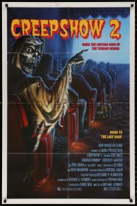8p007 CREEPSHOW 2 signed 1sh 1987 by Tom Savini, great Winters artwork of skeleton Creep in theater!