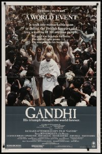 8p008 GANDHI signed 1sh 1982 by Ben Kingsley AND Martin Sheen, directed by Richard Attenborough!