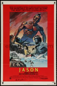 8p009 JASON & THE ARGONAUTS signed 1sh R1978 by Ray Harryhausen, cool fantasy art by Gary Meyer!