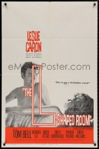 8p010 L-SHAPED ROOM signed 1sh 1963 by Leslie Caron, directed by Bryan Forbes!