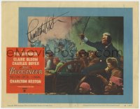 8p039 BUCCANEER signed LC #7 1958 by Charlton Heston, who's by cannon leading troops in battle!