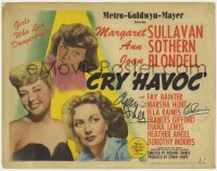 8p019 CRY HAVOC signed TC 1943 by Ann Sothern, Marsha Hunt, Ella Raines AND Diana Lewis!