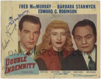 8p041 DOUBLE INDEMNITY signed LC #1 1944 by BOTH Fred MacMurray AND Barbara Stanwyck, with Robinson!